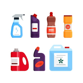 Set of cleaning tools, detergent and disinfectant products, household equipment for washing. flat illustration isolated on white background