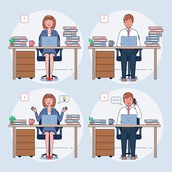 Set di impiegati che lavorano in ufficio