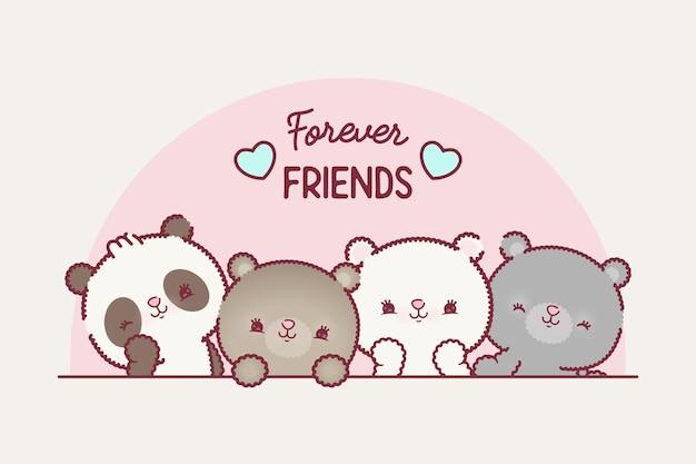 Set  clip art illustrations of friends teddy bears premium vector