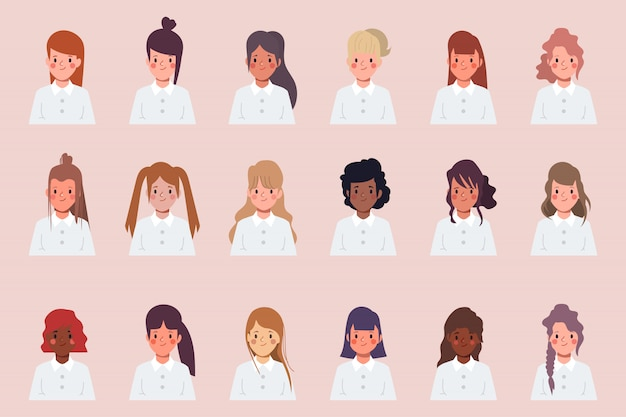 Set of clip art women icon character face difference hair style.
