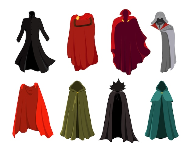 Set of cloaks. cloaks party clothing and hero costume set. carnival clothes. red cloaks super heroes, comics characters ãƒâ'ã'âlothing. wizard, elf, vampire.