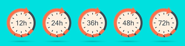 Set of clock arrow 12, 24, 36, 48, 72 hours in flat style