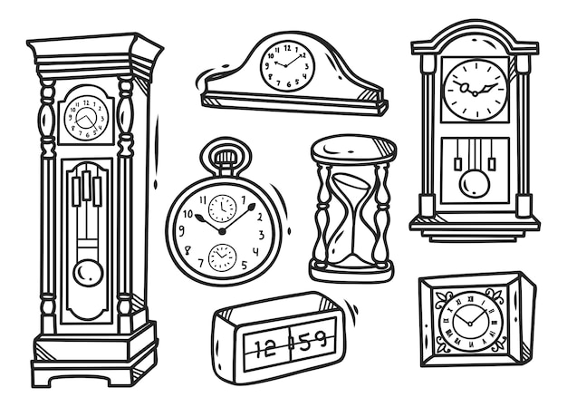 Set of clock doodles isolated on white background