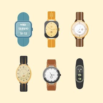 Set of clocks isolated on white background. wrist-watch. man and woman digital and classic watches collection in flat design.