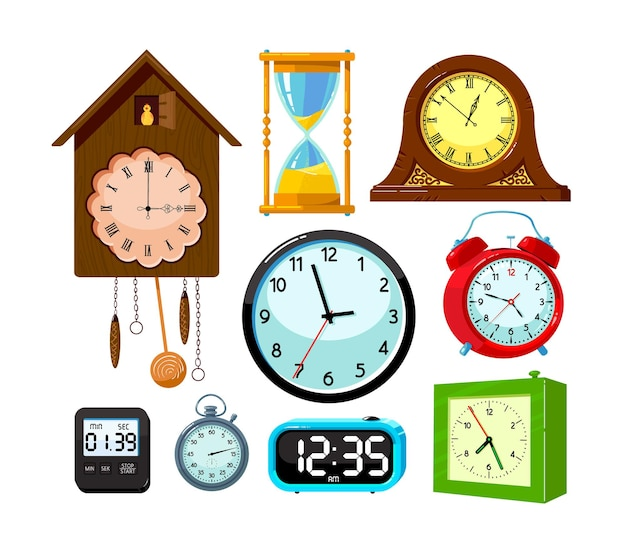 Set of clocks isolated on white