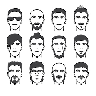 Set of close up different hair, beard and mustache style men portraits