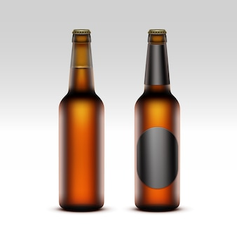 Set of  closed blank glass transparent brown bottles with without black labels of light beer for branding close up  on white background