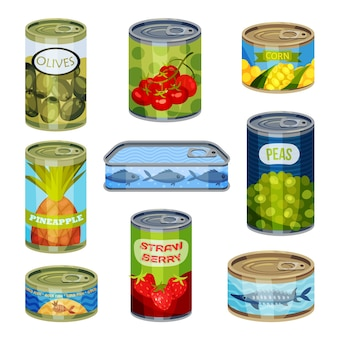 Set of closed cans isolated on white