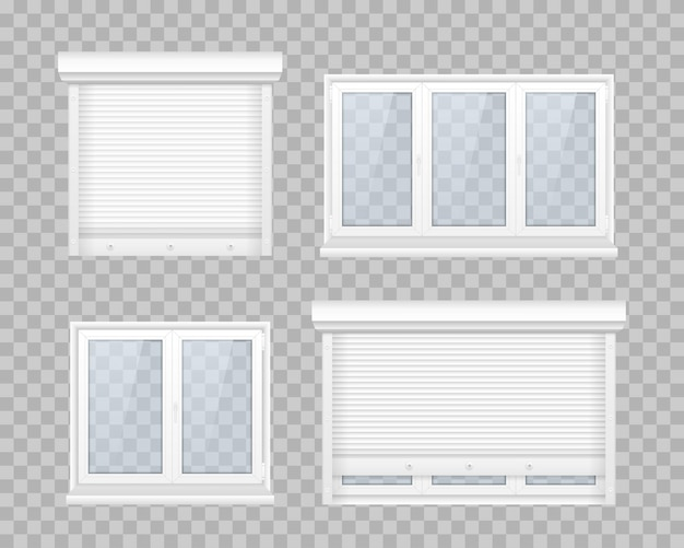 Set of closed window with transparent glass in a white frame