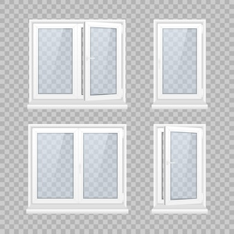 Set of closed window with transparent glass in a white frame.