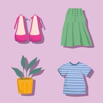服と植物を設定します
