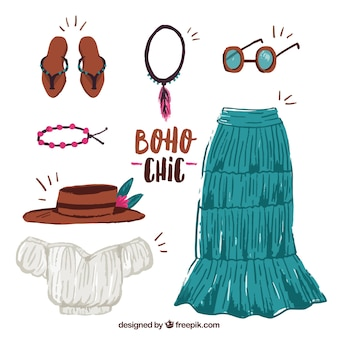 Set of clothes in boho style