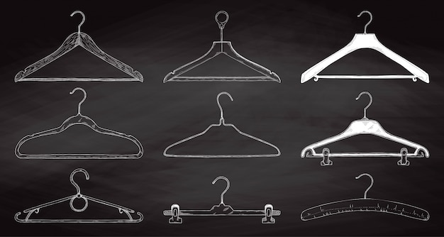 Set of clothes hangers on a chalkboard. vector.
