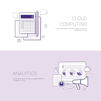 Set of cloud computing and analytics banners business concept template