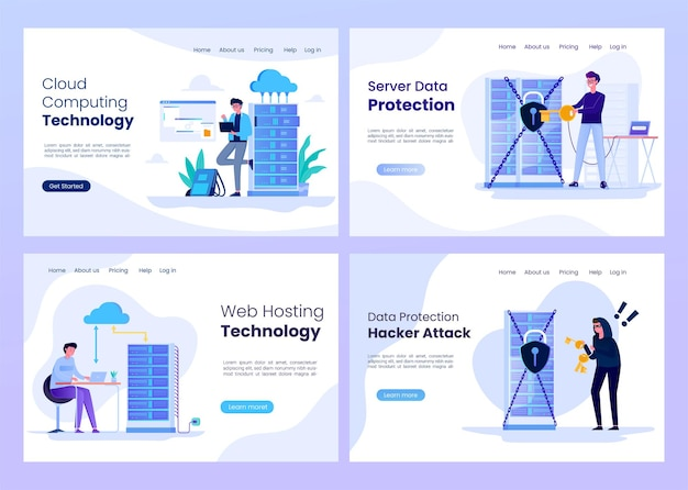 Set of cloud data storage technology landing pages