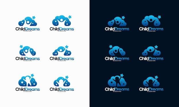 Set of cloud dreams logo designs, online learning logo designs vector