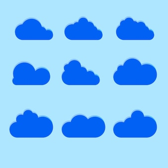 Set of cloud icons in trendy flat style isolated on blue background. cloud symbol for your web site design, logo, app, ui. illustration.