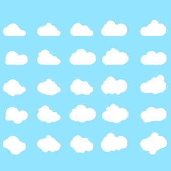Set of cloud icons in trendy flat style isolated on blue background