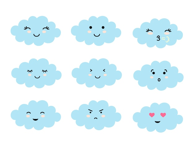 Set of cloud shaped emoji with different mood.