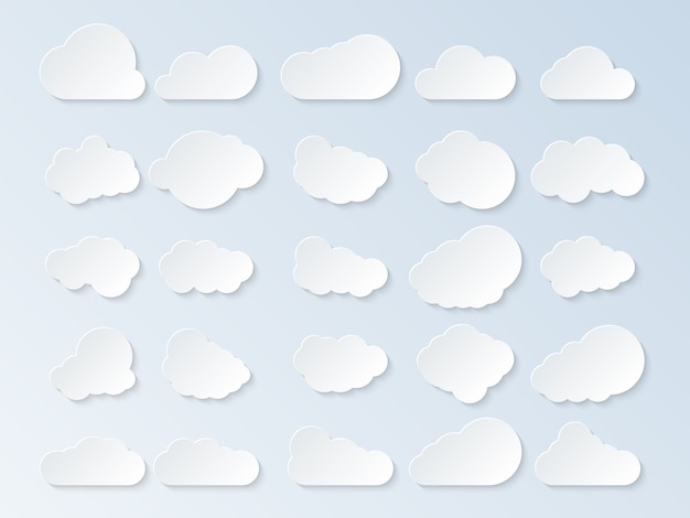 Set of clouds. cartoon clouds isolated on blue background. vector illustration.
