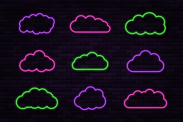Set of clouds neon signs on the black brick wall background abstract electric light frame