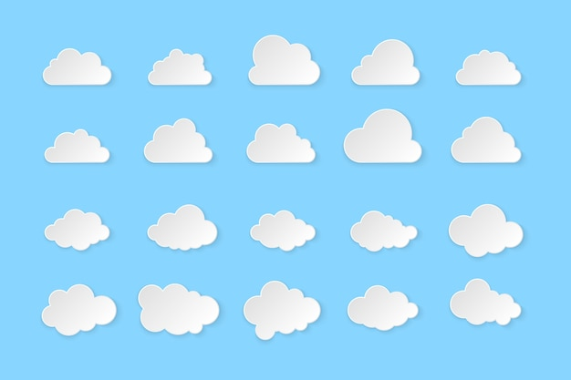 Set of clouds. simple clouds  on blue background,  illustration.