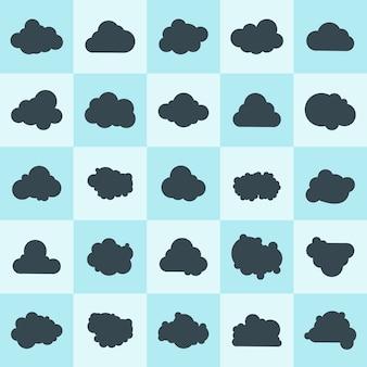 Set clouds sky on blue background