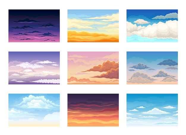 Set of clouds in the sky in different colors and shades in the morning