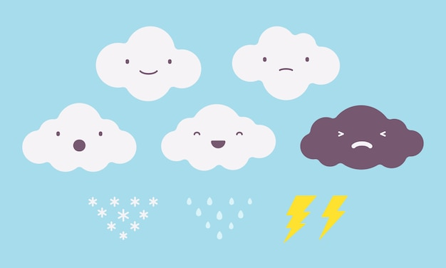 Set of clouds with different emotions