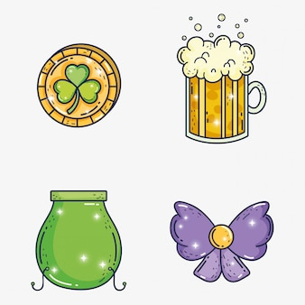 Set clover coin with beer glass and cauldron