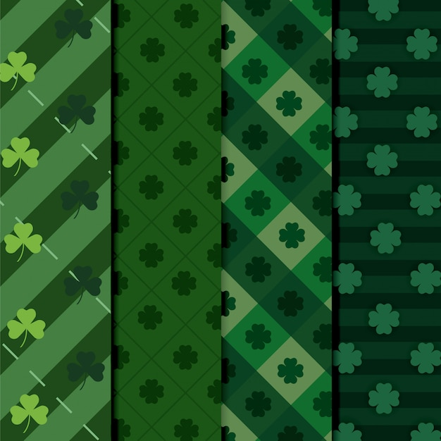 Set clovers plants with figures texture background