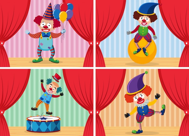 Set of clown on stage