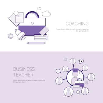 Set of coaching and business teacher web banners concept template