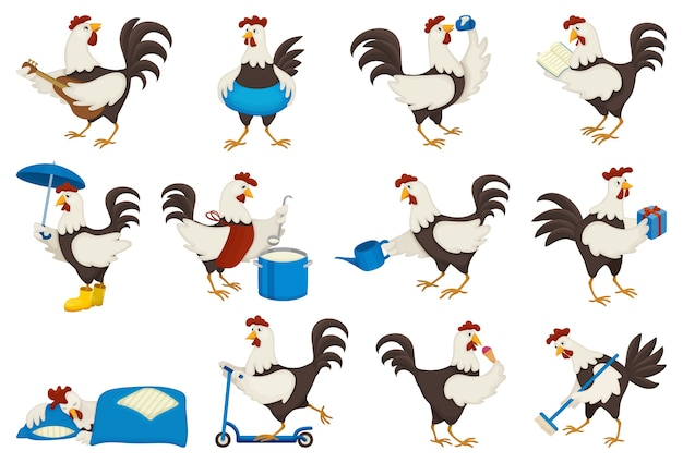 Set of cock of animal isolated on white Premium Vector