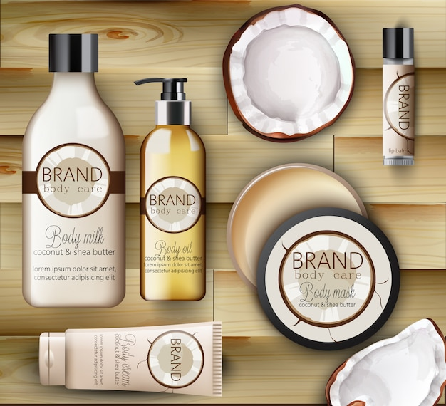 Set of coconut body care products with creams, shampoo bottles, milk, mask and lip balm