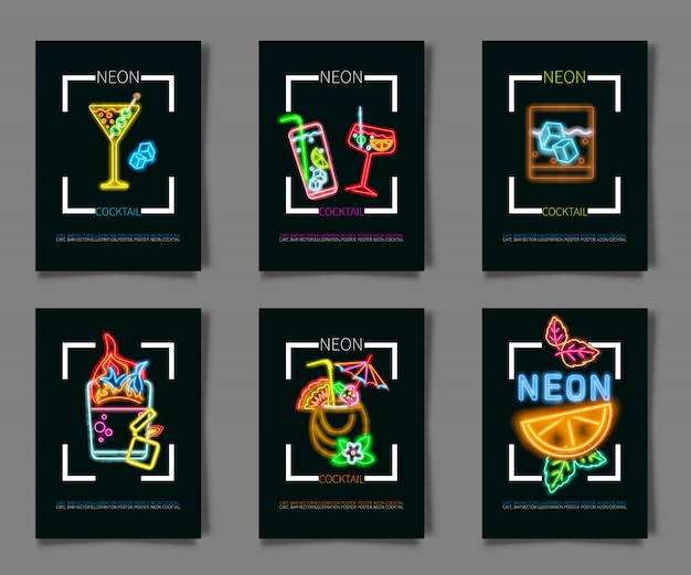 Set coctail and drink neon sign