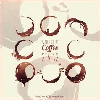 Set cof offee stains in watercolor effect