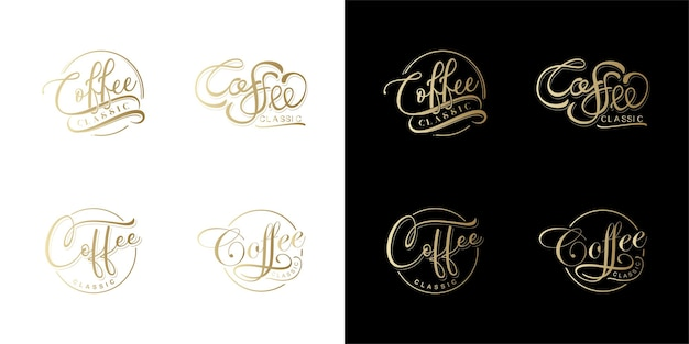 Set of coffe lettering vctor