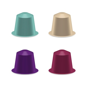 Set of coffee capsules isolated on white realistic vector illustration