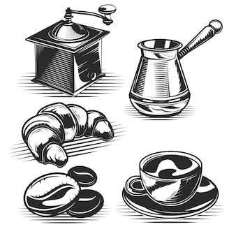 Set of coffee, croissants and kitchen equipment