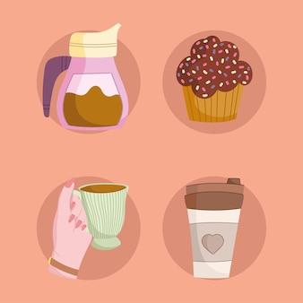 Set of coffee and cupcake