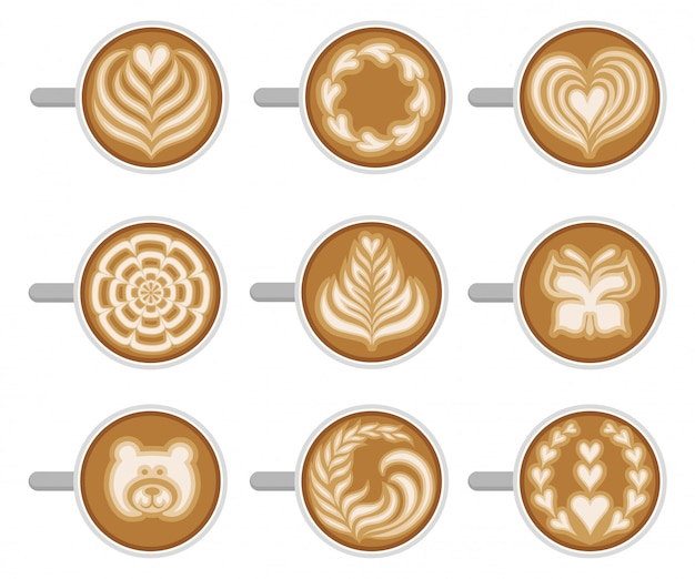 Set of coffee cups with different latte art, top view. fresh and tasty cappuccino. hot morning drink