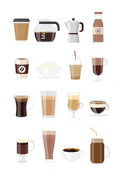Set coffee drinks. typs of coffee isolated on white background in flat style. coffee maker, chocolate, espresso, macchiato, cocoa and frappe, americano, latte and cappuccino.