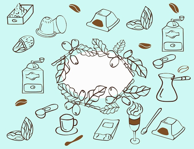Set of coffee elements and accessories. hand drawn style. vector