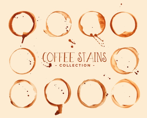 Set of coffee glass stain textures