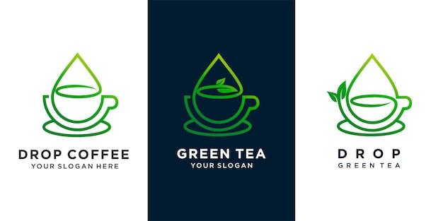 Set of coffee or green tea or tea with water drop and tea leaf combination concept logo design . premium vector