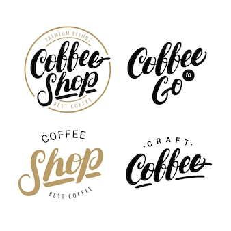 Set of coffee hand written lettering logos