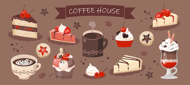 Set of coffee house elements: coffee cups, cheesecake, cake. brown background, isolated.