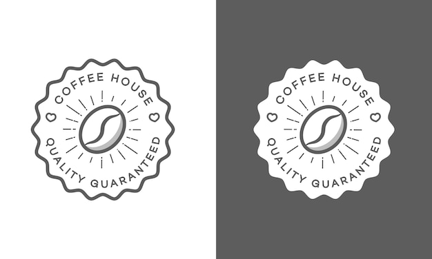Set of coffee house logo isolated on white and black