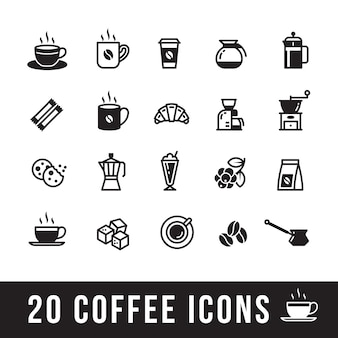 Set of coffee icons for cafe
